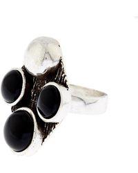 Saint Laurent Patti Quadri Silver And Onyx Ring - Lyst