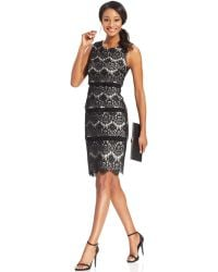Xscape Scalloped Lace Tiered Sheath - Lyst