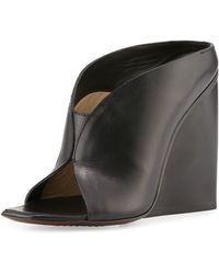 CoSTUME NATIONAL - Open-Toe Leather Wedges - Lyst