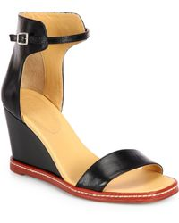 MM6 by Maison Martin Margiela Leather Wedge Ankle-Strap Sandals - Lyst