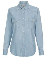 Paul Smith Light-Wash Denim Shirt With Patchwork Detail - Lyst