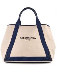 Balenciaga Navy Cabas M Cotton-Canvas Shopper - Lyst