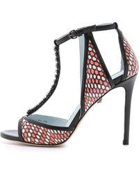 DANNIJO - Salma Embellished T Strap Sandals - Black - Lyst