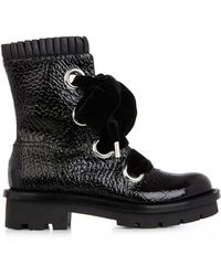 Alexander McQueen Popeline Pleated Leather Biker Boots - Lyst
