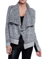 White + Warren Striped Sweater Jacket - Lyst