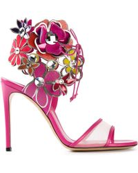 Casadei Flower Embellished Sandals - Lyst