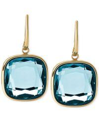 Michael Kors Gold-Tone Stainless Steel Citrine Stone Drop Earrings - Lyst