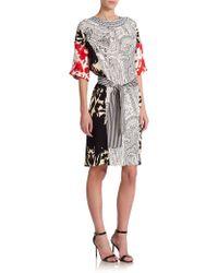 Etro Mixed-Print Silk Dolman Dress - Lyst