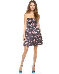 Jill Jill Stuart Floral Strapless Dress - Lyst