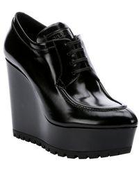 Prada Nero Leather Lug Soled Platform Wedge Oxfords - Lyst