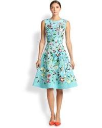 Oscar de la Renta Embroidered-Floral A-Line Dress - Lyst
