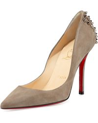 Christian Louboutin Zappa Suede Spiked Red Sole Pump - Lyst