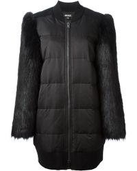 DKNY Faux Fur Sleeve Padded Coat - Lyst
