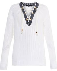 Tibi Lace-Front Cotton Sweater - Lyst