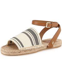 Tory Burch Flat Striped-Stretch Sandal black - Lyst