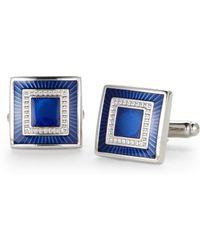 Geoffrey Beene   Silver-Tone & Blue Square Cuff Links   Lyst