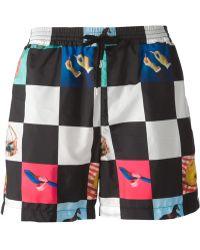 MSGM Check-Print Swim Shorts - Lyst