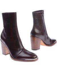 Celine Block Mid-Heels Ankle Boots - Lyst