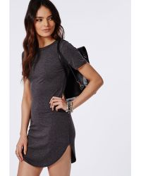 Missguided Jersey Curve Hem Shift Dress Grey Marl - Lyst