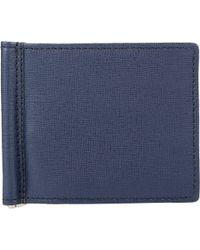 Barneys New York Money Clip Bifold Wallet blue - Lyst