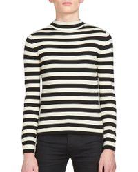 Saint Laurent | Striped Mockneck Sweater | Lyst