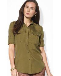 Ralph Lauren Lauren Silk Roll Sleeve Shirt - Lyst