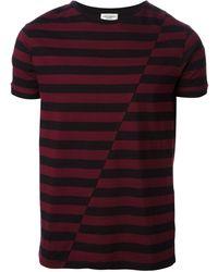 Saint Laurent Purple Striped Tshirt - Lyst