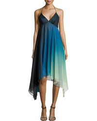 Halston Heritage Ombre High-Low Cocktail Halter Dress - Lyst