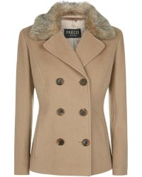 Precis Petite - Double Breasted Wool Coat - Lyst