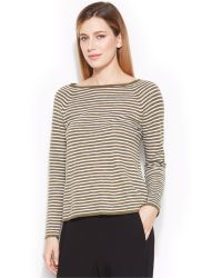 Eileen Fisher Boat-Neck Striped Sweater - Lyst