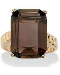 Palmbeach Jewelry - 10.75 Tcw Emerald-cut Smoky Quartz Ring In 14k Gold-plated - Lyst