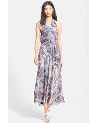 Haute Hippie Print Silk Halter Wrap Dress - Lyst