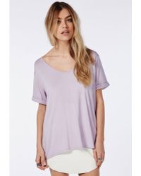 Missguided Boyfriend V Neck T Shirt Lilac - Lyst