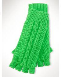 Ralph Lauren Cable-Knit Fingerless Gloves - Lyst