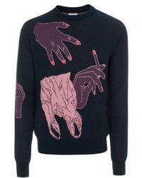 Paul Smith Petrol Blue Hands Intarsia Cotton-Blend Sweater - Lyst