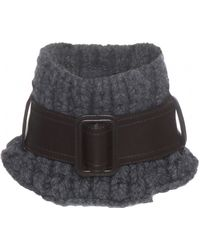 CALVIN KLEIN 205W39NYC - Knitted Wool And Cashmere And Leather Scarf - Lyst