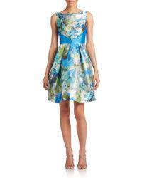 Theia Floral V-Back Dress - Lyst