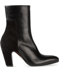 Costume National Pointed Toe Panelled Ankle Boots - Lyst