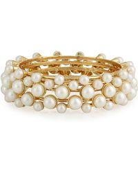 R.j. Graziano - Golden Pearly Bangle Bracelet Set - Lyst
