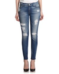 7 For All Mankind Destroyed Ankle Skinny Jeans - Lyst