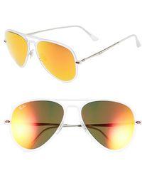 Ray-Ban Men'S 'Tech Light-Ray' 56Mm Aviator Sunglasses - Matte Crysatl/ Orange Mirror - Lyst