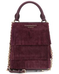 Burberry Prorsum - Small Fringed Suede Bucket Bag - Lyst