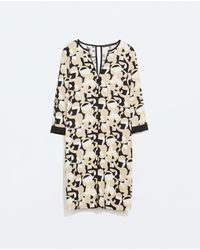 Zara Piped Print Dress - Lyst