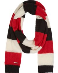 Diesel Red and Black Striped Scarf - Lyst