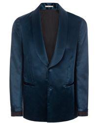 Paul Smith Teal Cotton-Blend Satin Shawl Collar Blazer - Lyst
