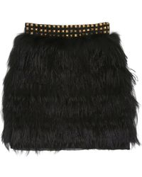 Nicole Miller Silver Fox Fur  Feather Skirt - Lyst
