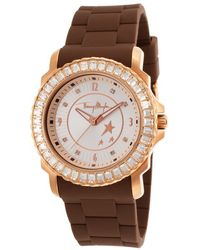 Thierry Mugler Womens Brown Rubber White Crystal Encrusted Bezel - Lyst