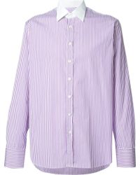 Etro Striped Shirt with Contrasting Collar - Lyst