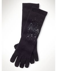 Lauren by Ralph Lauren - Sequined Wool-Blend Gloves - Lyst