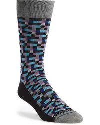 Hook + Albert | 'mini Squares' Pima Cotton Blend Socks | Lyst